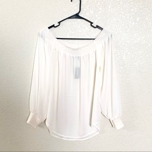Express Chiffon Off the Shoulder White Blouse M